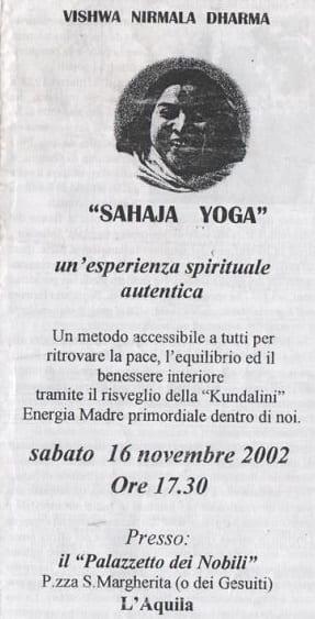 """Shri Mataji Nirmala Devi e la """"Realizzazione del Sé"""" volantino"""
